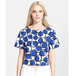 Kate Spade 'Stamped Dots' Stretch Cotton Crop Top